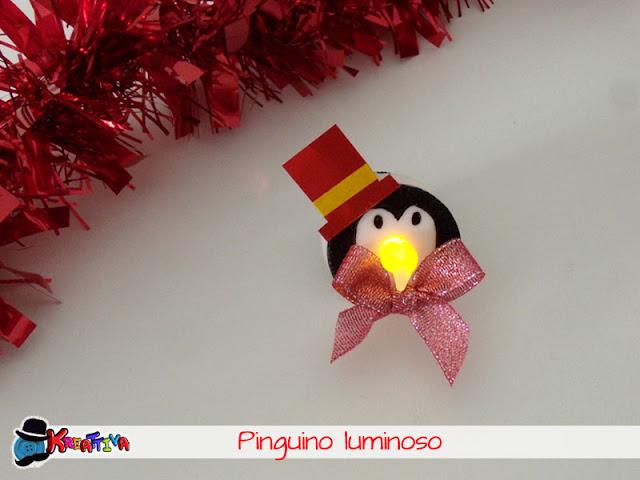 Pinguino luminoso per una tavola di natale creativa