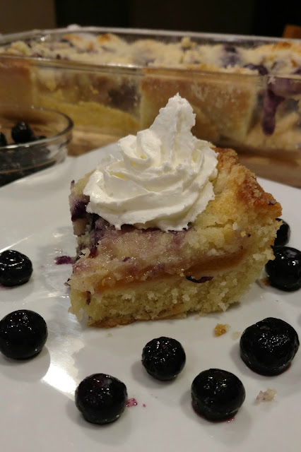 Blueberries and peaches are a winning combination in this cobbler cake where each bite is a burst of flavor.  Try other flavor combinations as well!