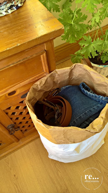 basket, flower pot, newspaper weaving, paper wicker, jeans, belt, recycle, papierowa wiklina, koszyk, pasek