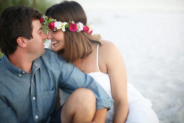 wedding flower crown on the beach on sanibel island