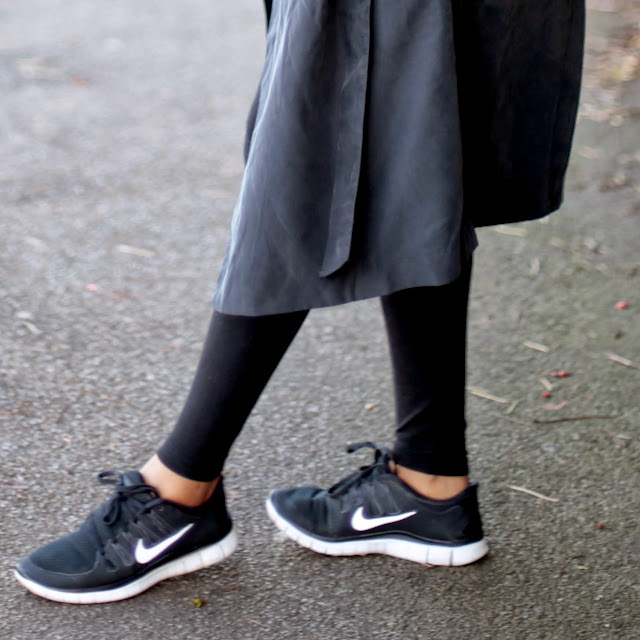 Black and white Nike Free Run 3.0