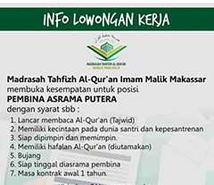 Lowongan Kerja di Yayasan Markaz Imam Malik