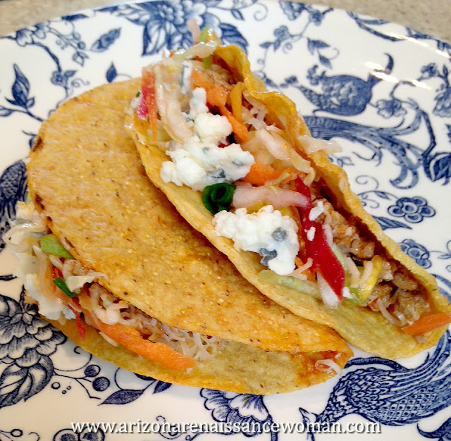 Buffalo Turkey Tacos with Cabbage, Carrot, and Celery Slaw and Gorgonzola (2)