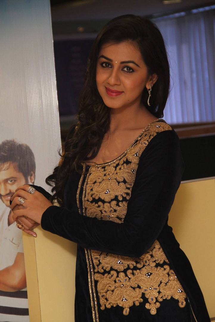 Actress Nikki Galrani Long hair Stills In Black Dress