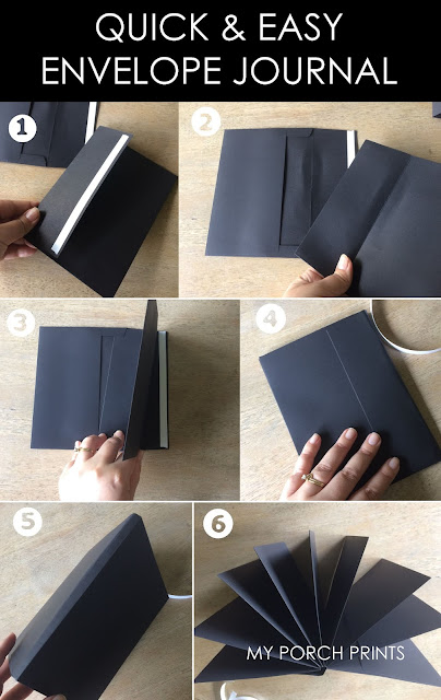 Make This Quick & Easy Black Envelope Journal from My Porch Prints