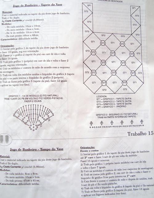 Jogos de Tapetes de Croche Para Decorar Banheiro Com Receitas e Gráficos 6