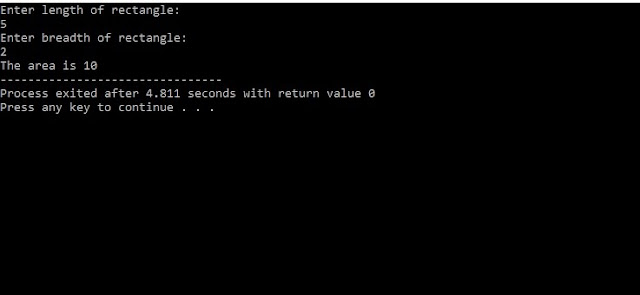 C program to find area using function.