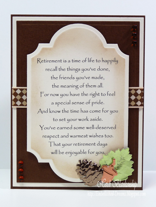 Embellished Dreams: Retirement Card - Enjoy Your Days