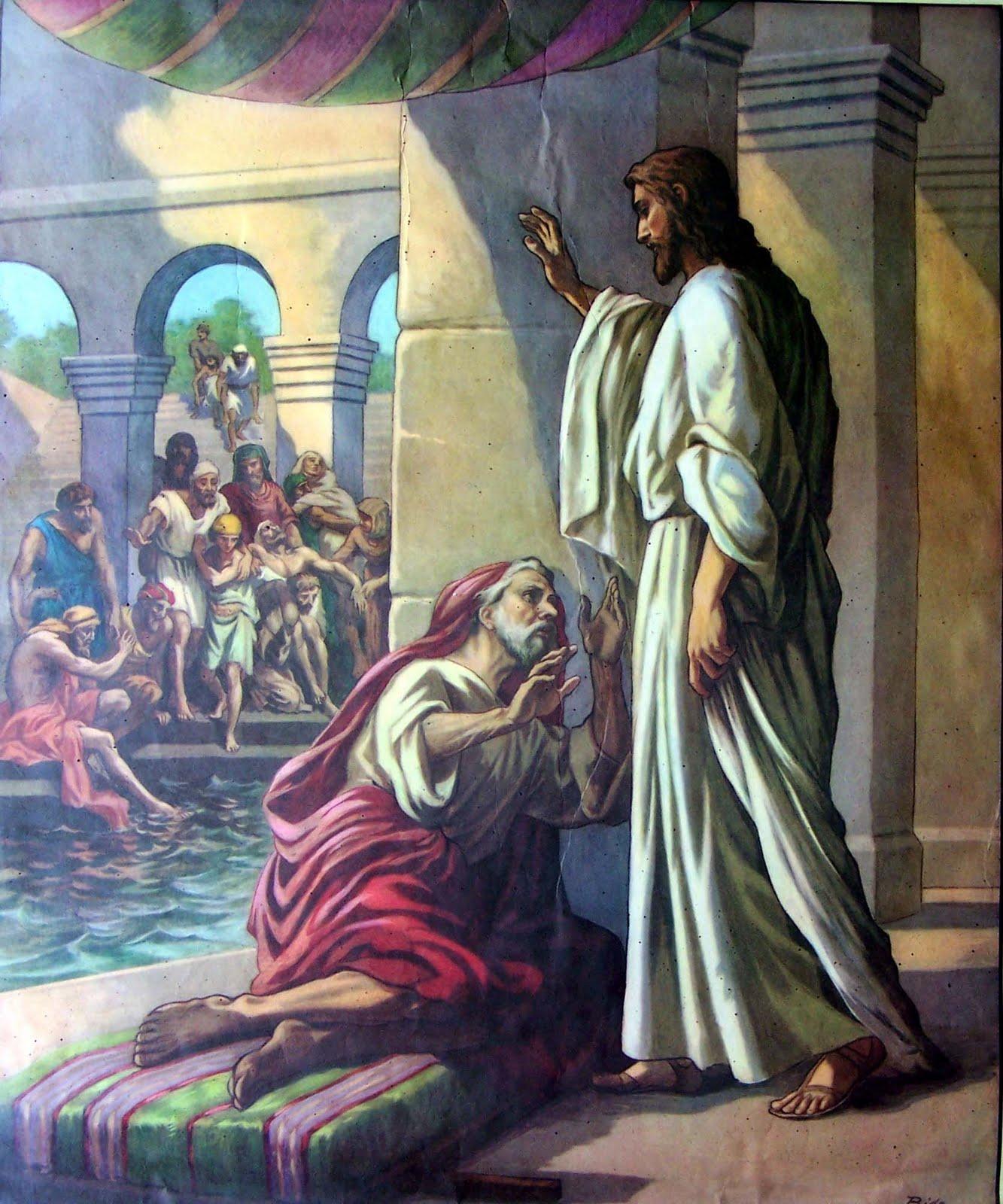 Jesus heals man at pool of bethesda coloring page hot for Healing at the pool of bethesda coloring page