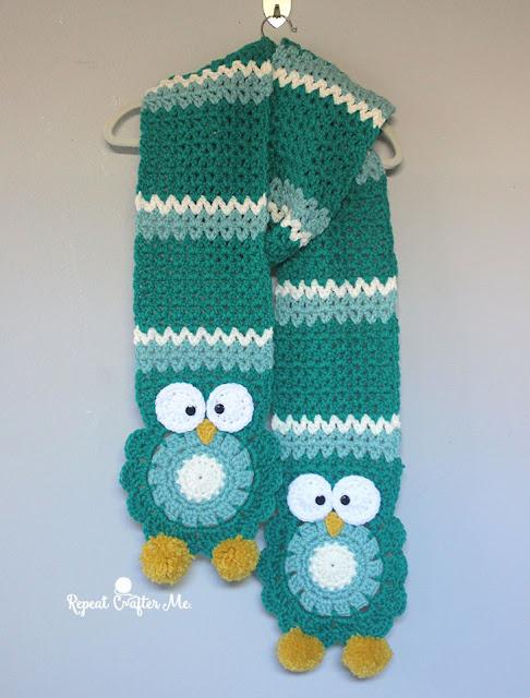 http://www.repeatcrafterme.com/2016/09/crochet-owl-super-scarf.html