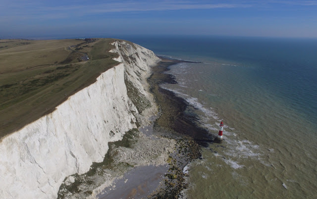 Drone view of Beachy Head Lighthouse, East Sussex coast
