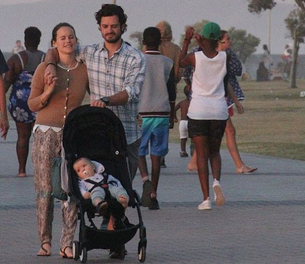 Swedish Prince Carl Philip, Swedish Princess Sofia Hellqvist, Prince Alexander on Holiday in Cape Town. Sofia Hellqvist Style