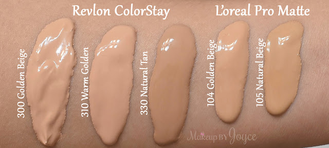Revlon ColorStay Foundation Combination Oily Skin 300 Golden Beige 310 Warm Golden 330 Natural Tan Swatches