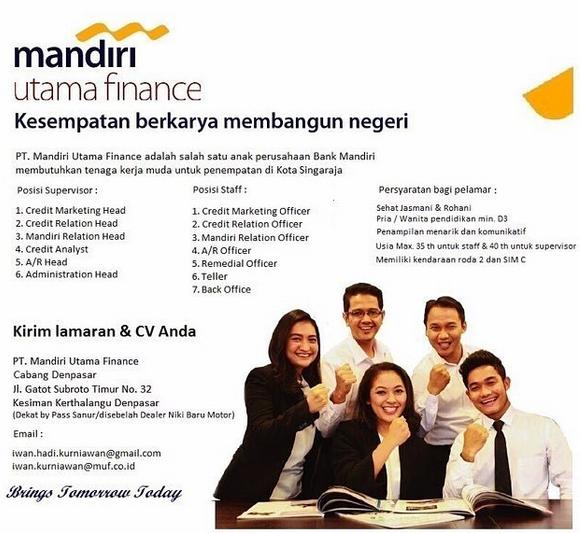 Lowongan Kerja PT. Mandiri Utama Finance Tersedia 13 Posisi