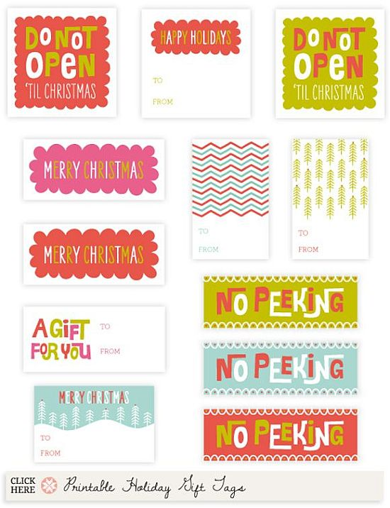 colorful and funny letters printable Christmas gift tags for free