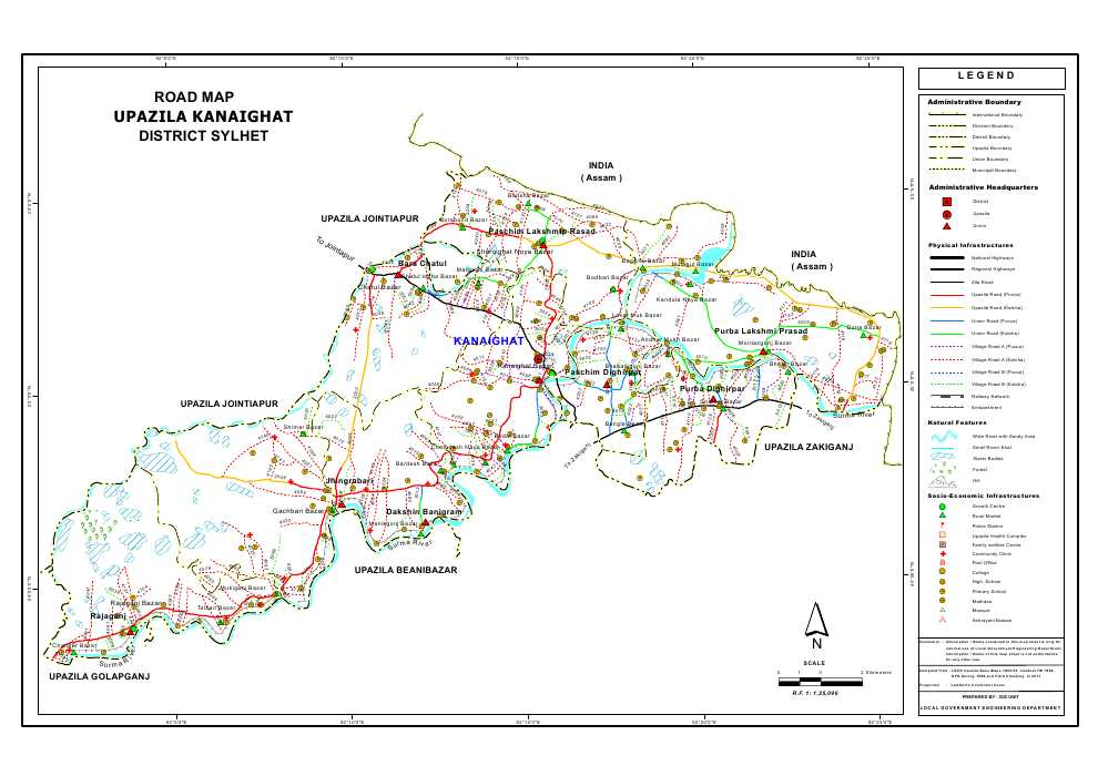 Kanaighat Upazila Road Map Sylhet District Bangladesh