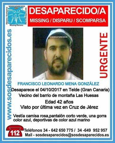 Un hombre, Francisco Leonardo Mena, se encuentra como desaparecido del barrio Montaña Las Huesas, Telde