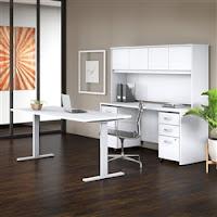 white ergonomic desk