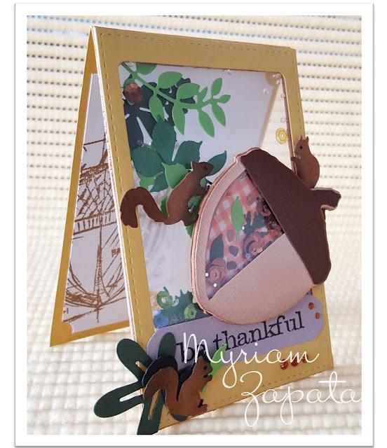 Shaker card bellota y ardillas. Vista semi lateral por Myriam Zapata