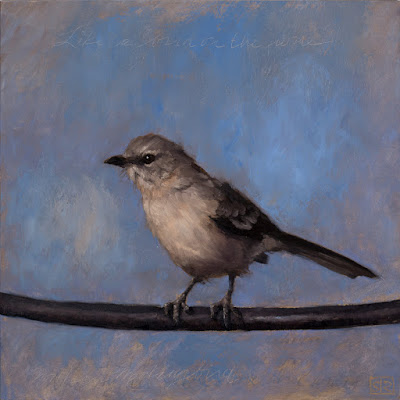 A portrait of a Northern Mockingbird on a Wire, oil painting, ©Shannon Reynolds