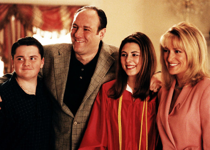 Anthony Junio, Tony, Meadow y Carmela son Los Soprano HBO