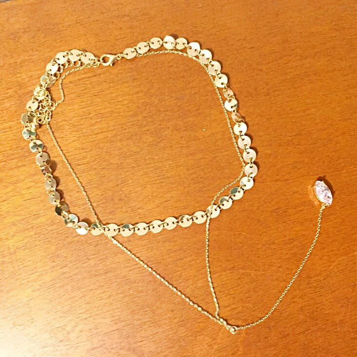 Forever 21 gold coin choker with crystal y-necklace