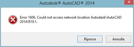 AutoCAD Installation Failures - Error 1606. Could not access network location. 1