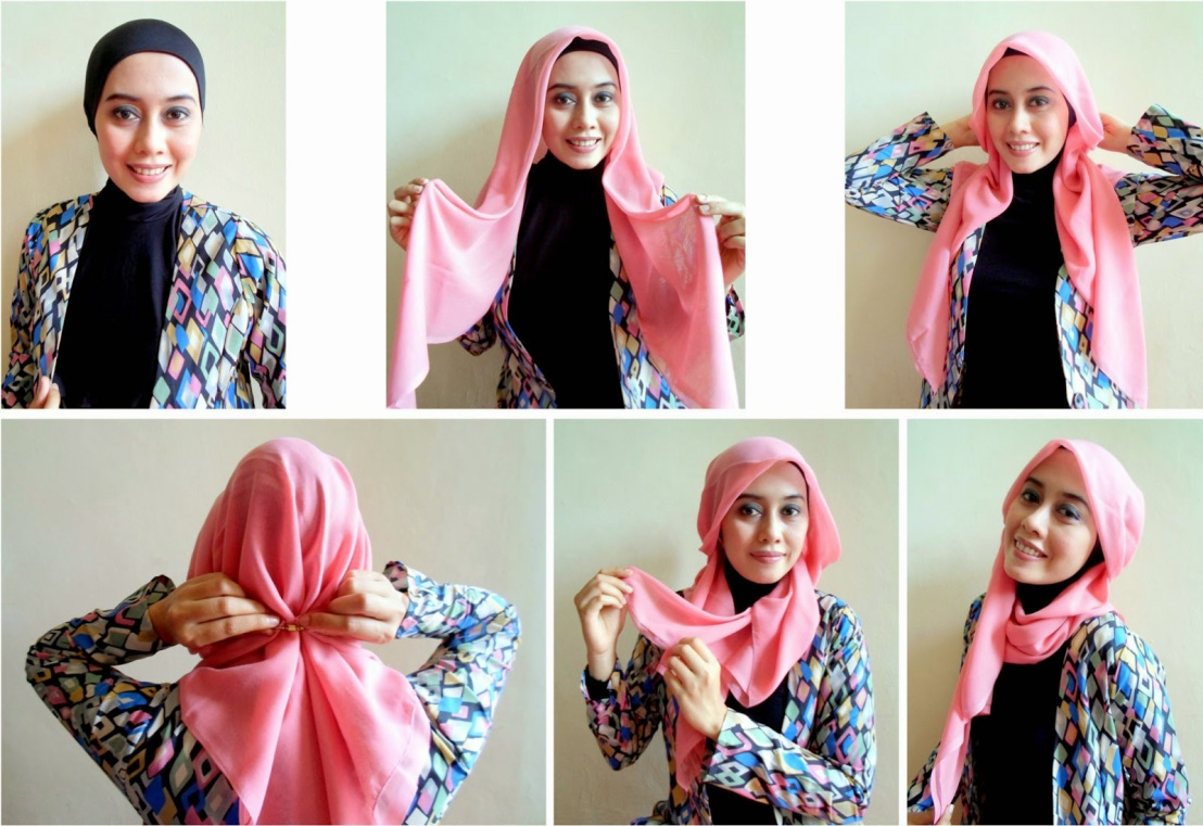 tutorial hijab paris segi empat full fashion terbaru - tutorial
