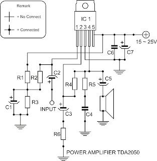 Free schematic: Power Amplifier TDA2050 Schematic