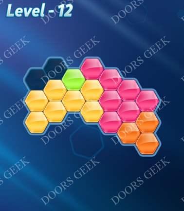 Block! Hexa Puzzle [5 Mania] Level 12 Solution, Cheats, Walkthrough for android, iphone, ipad, ipod