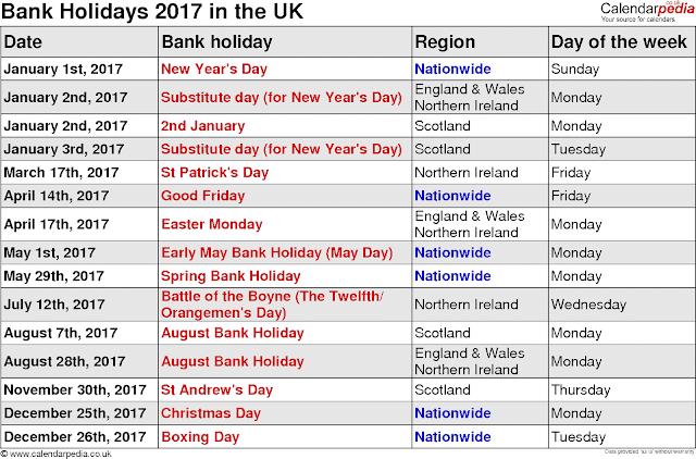 2017 Bank Holidays Calendar, Bank Holiday Calendar 2017, 2017 Bank Holidays Calendar USA, 2017 Bank Holidays Calendar UK