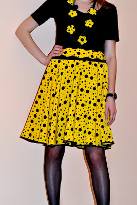 Yellow and black polka dots circle skirt