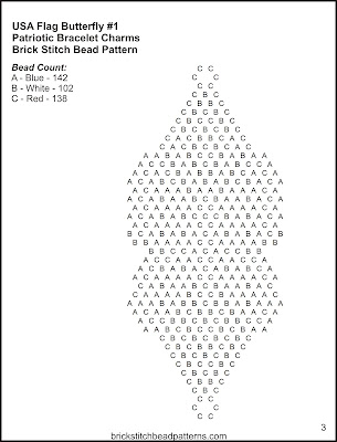 Free brick stitch seed bead bracelet charm pattern letter chart.