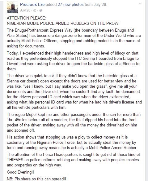 How Nigerian Police Officer Robbed Driver His Money During Stop & Search - Man Makes Shocking Revelation