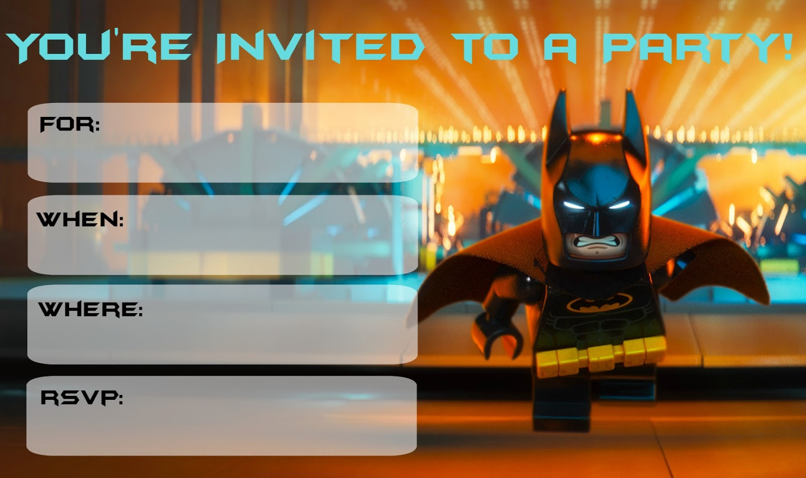 Musings of an Average Mom More Lego Batman Party Invitations