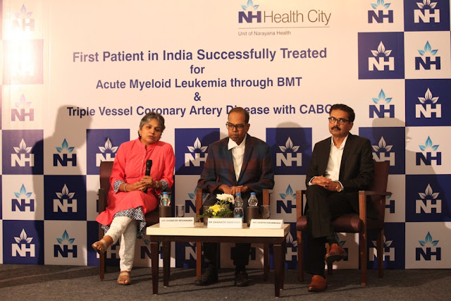 Narayana Health City becomes the first healthcare provider in the country to successfully treat Patient suffering from Acute Myeloid Leukemia, with BMT & Triple Vessel Coronary Artery disease, with CABG