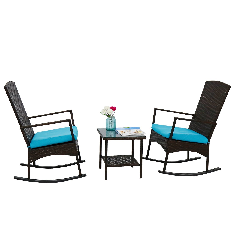 Rattan Wicker Rocking Chair Cushion Punisher Skull Adirondack Luxury Furniture Review Kinbor 3pcs Outdoor Rocker