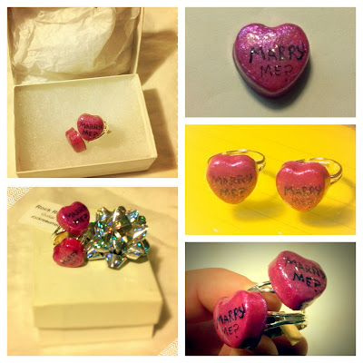 Custom candy heart engagement rings