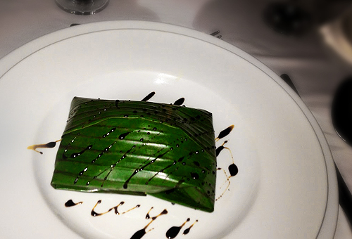 fish wrapped in banana leaf