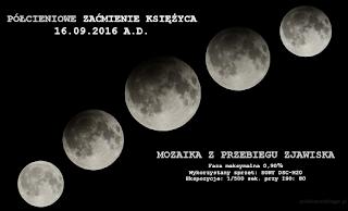 Mozaika z przebiegu półcieniowego zaćmienia Księżyca z 16.09.2016 r. Wszystkie zdjęcia wykorzystane do zestawienia wykonane na jednakowych ustawieniach ekspozycji, z wykorzystaniem kompaktu Sony DSC-H20 na statywie.