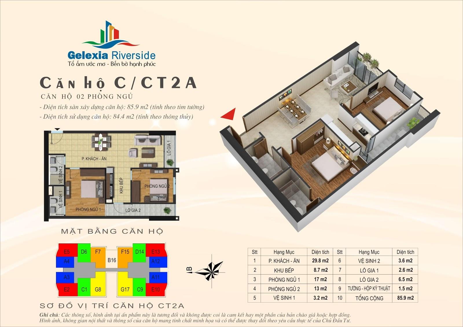 Mặt bằng căn hộ 85,9 m2 tòa CT2A - Gelexia Riverside