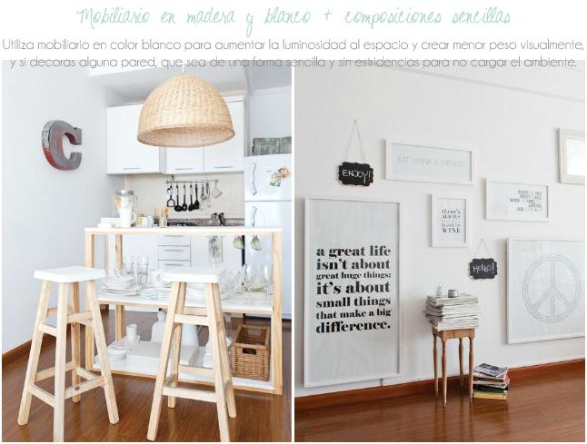Madera y blanco para decorar espacios pequeños