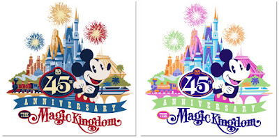 Logos for Magic Kingdom 45th anniversary merchandise