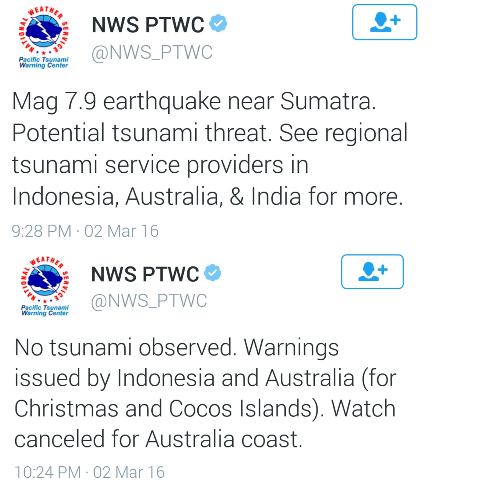 Sumatra quake today, March 2, 2016