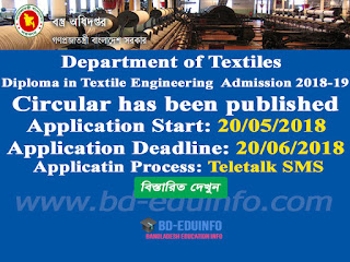 Department of Textiles Admission 2018-19
