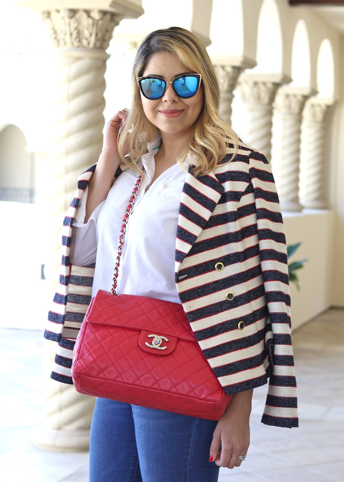 Red chanel caviar maxi flap, consigned Chanel bags, what to wear with a red chanel, quay sunglasses