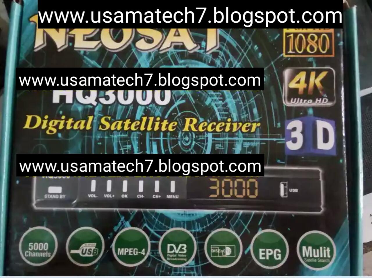 NEOSAT HQ3000 HD RECEIVER AUTO ROLL POWERVU KEY NEW SOFTWARE