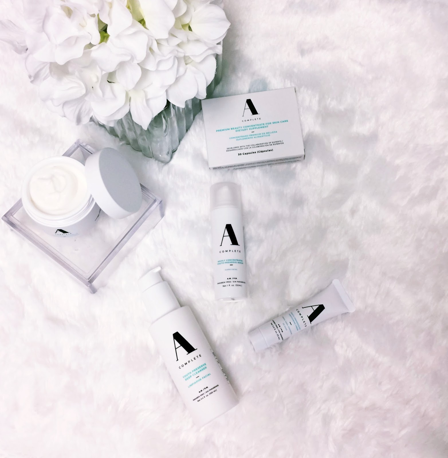 A complete beauty, skincare, deep cleanser, beauty tips, eye cream, skin care supplement, beauty pills, moisturizing cream, latina skicare line