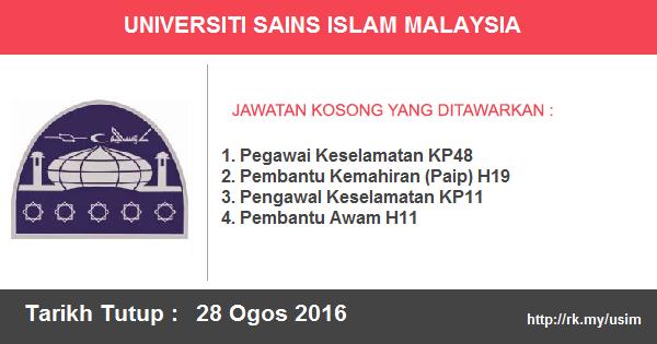 Jawatan Kosong di Universiti Sains Islam Malaysia (USIM)
