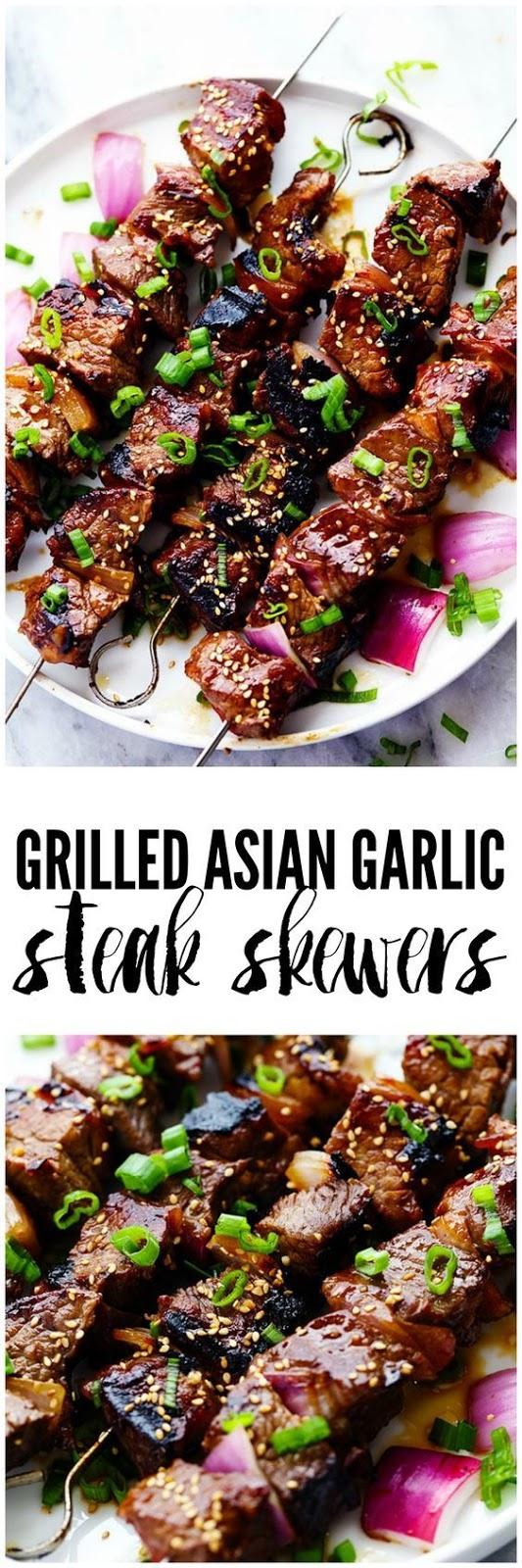 GRILLED ASIAN GARLIC STEAK SKEWERS